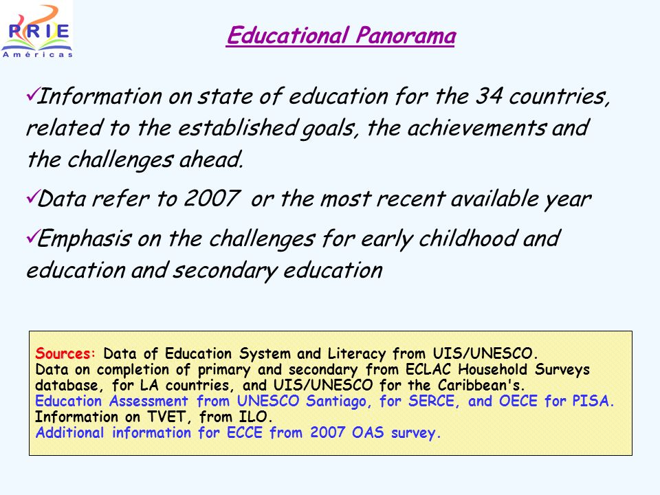 Information on state of education for the 34 countries, related to the established goals, the achievements and the challenges ahead.