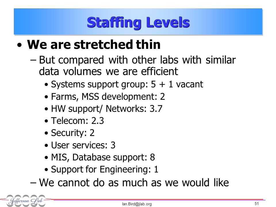 Ian.Bird@jlab.org 51 Staffing Levels We are stretched thin –But compared with other labs with similar data volumes we are efficient Systems support group: 5 + 1 vacant Farms, MSS development: 2 HW support/ Networks: 3.7 Telecom: 2.3 Security: 2 User services: 3 MIS, Database support: 8 Support for Engineering: 1 –We cannot do as much as we would like