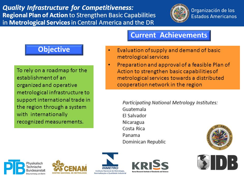 Quality Infrastructure for Competitiveness: Regional Plan of Action to Strengthen Basic Capabilities in Metrological Services in Central America and t