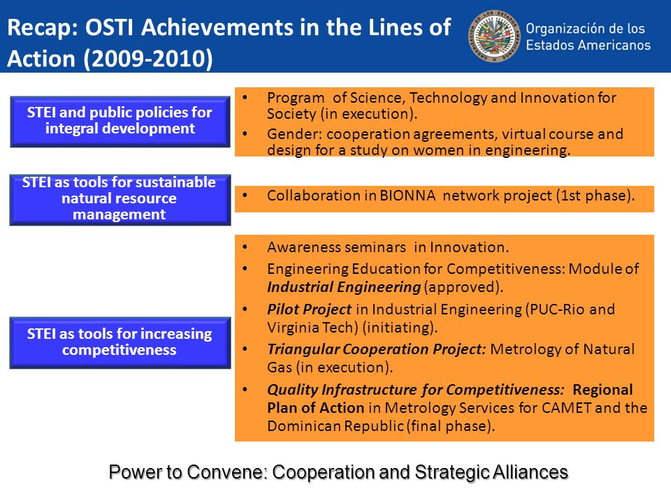 Recap: OSTI Achievements in the Lines of Action (2009-2010) STEI and public policies for integral development STEI as tools for sustainable natural re