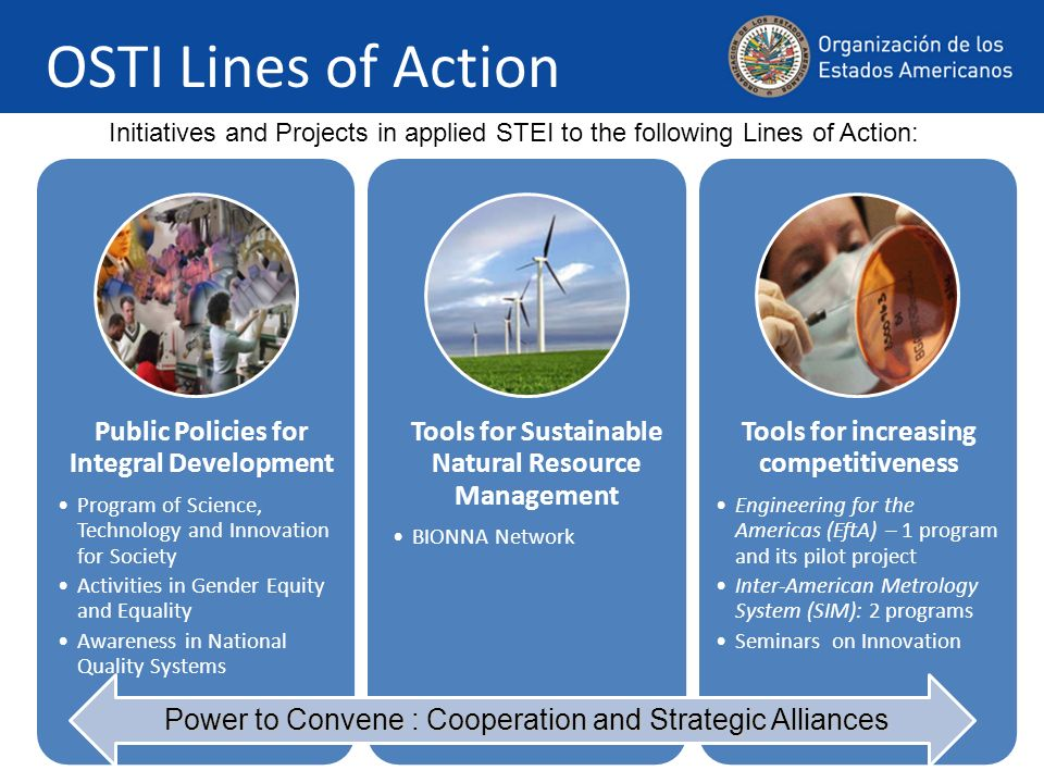 OSTI Lines of Action Public Policies for Integral Development Program of Science, Technology and Innovation for Society Activities in Gender Equity an