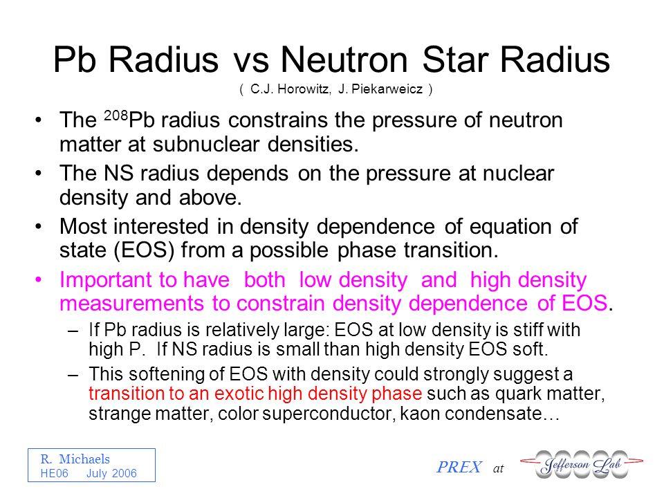 R. Michaels PREX at HE06 July 2006 Pb Radius vs Neutron Star Radius The 208 Pb radius constrains the pressure of neutron matter at subnuclear densitie