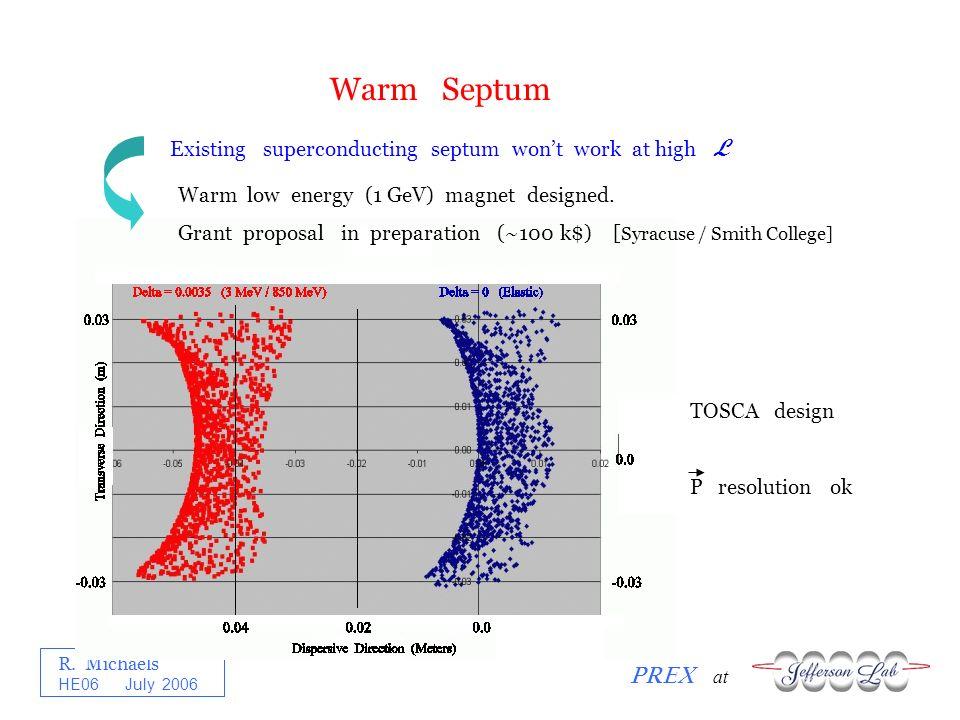 R. Michaels PREX at HE06 July 2006 Warm Septum Existing superconducting septum wont work at high L Warm low energy (1 GeV) magnet designed. Grant prop