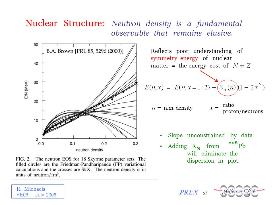 R. Michaels PREX at HE06 July 2006 Nuclear Structure: Neutron density is a fundamental observable that remains elusive. Reflects poor understanding of