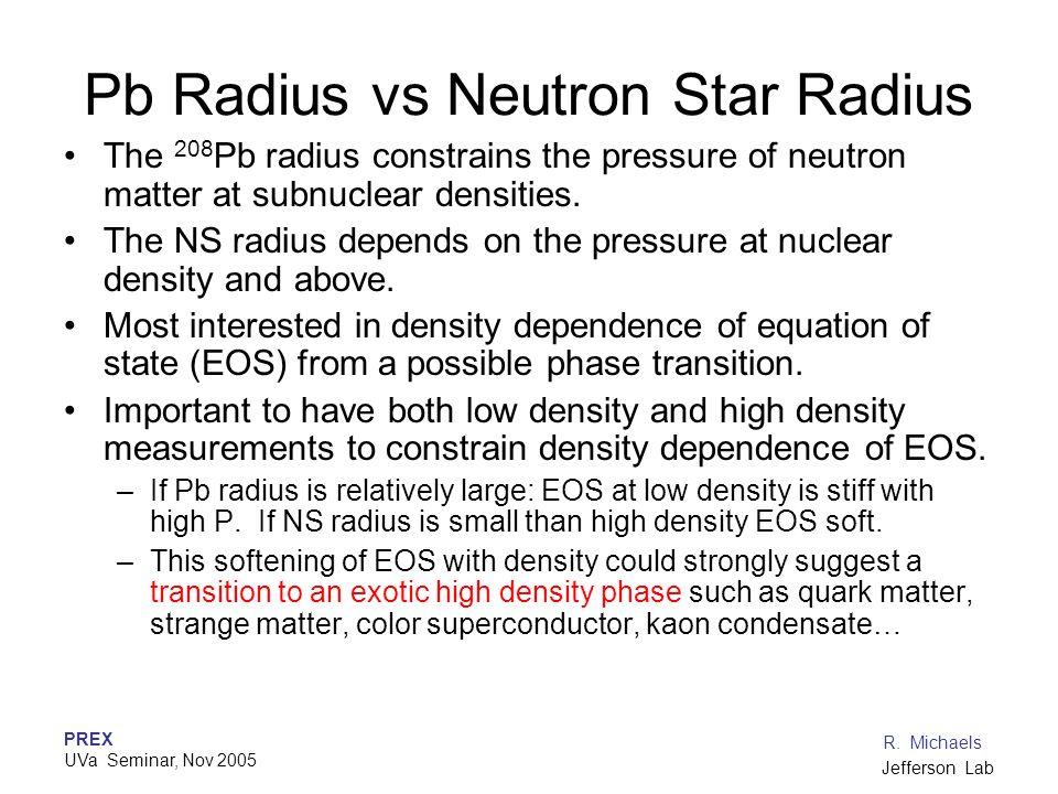 PREX UVa Seminar, Nov 2005 R. Michaels Jefferson Lab Pb Radius vs Neutron Star Radius The 208 Pb radius constrains the pressure of neutron matter at s
