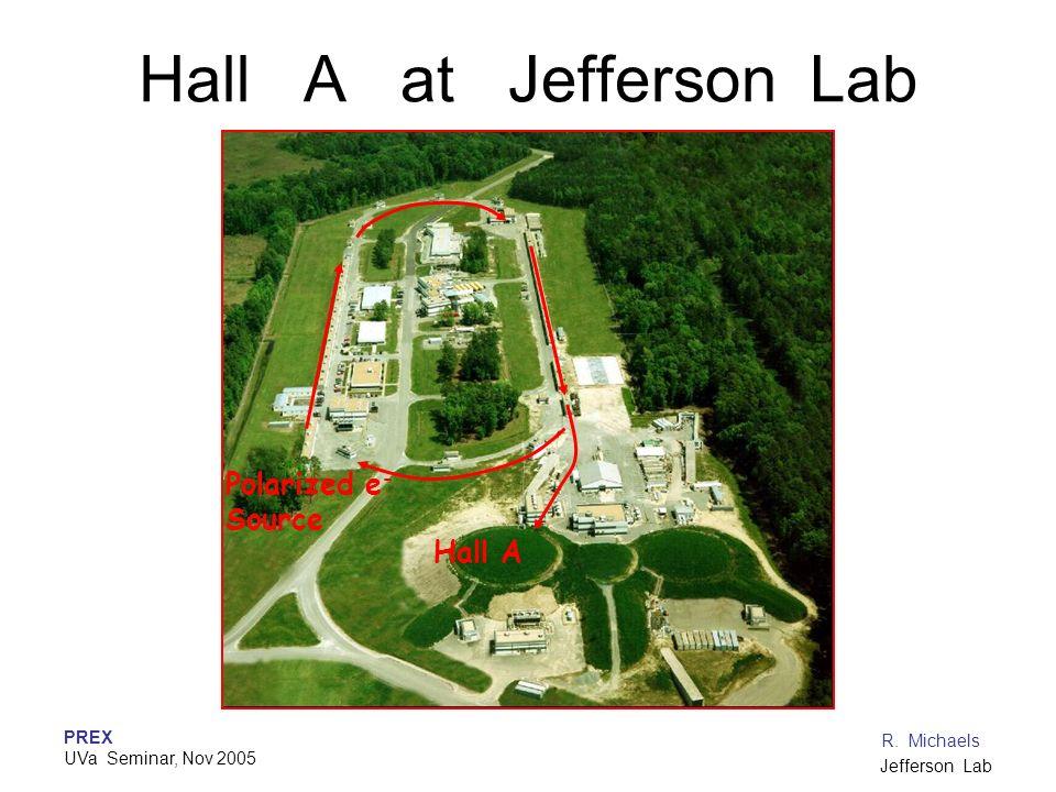 PREX UVa Seminar, Nov 2005 R. Michaels Jefferson Lab Hall A at Jefferson Lab Polarized e - Source Hall A