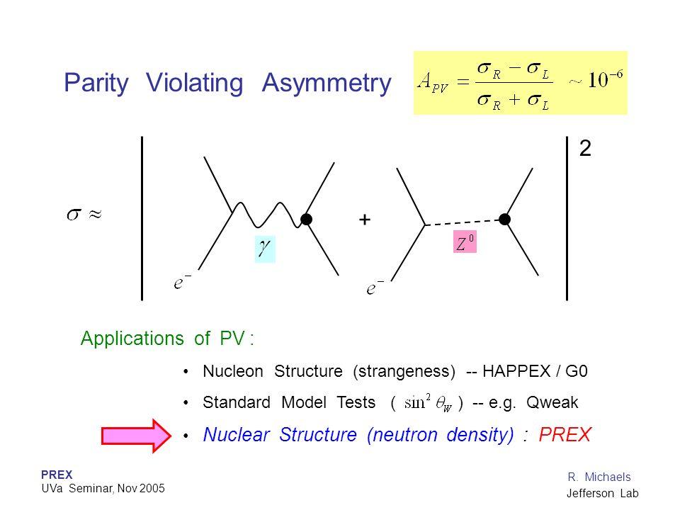 PREX UVa Seminar, Nov 2005 R. Michaels Jefferson Lab Parity Violating Asymmetry + 2 Applications of PV : Nucleon Structure (strangeness) -- HAPPEX / G
