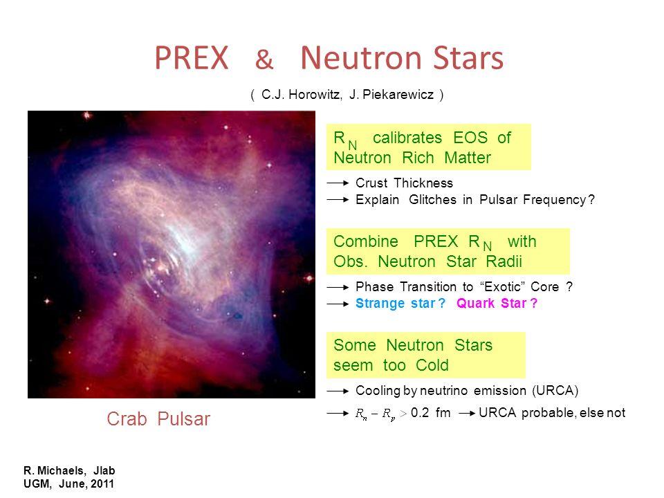 R. Michaels, Jlab UGM, June, 2011 PREX & Neutron Stars Crab Pulsar ( C.J. Horowitz, J. Piekarewicz ) R calibrates EOS of Neutron Rich Matter Combine P