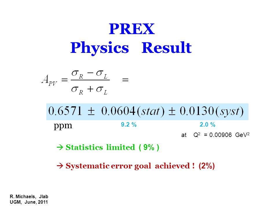 R. Michaels, Jlab UGM, June, 2011 PREX Physics Result ppm at Q 2 = 0.00906 GeV 2 Statistics limited ( 9% ) Systematic error goal achieved ! (2%) 9.2 %
