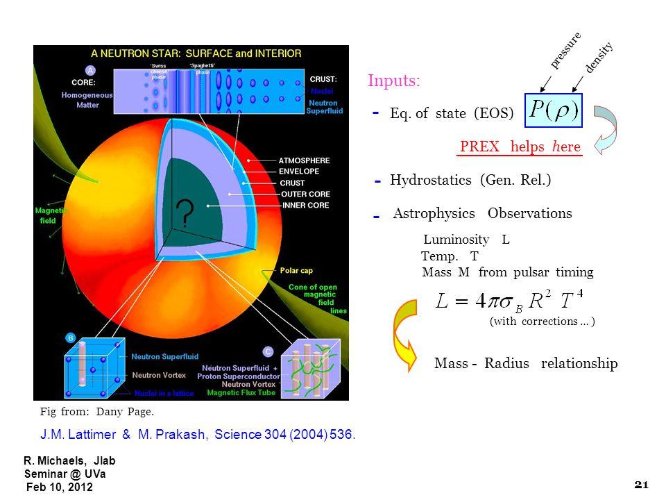 R. Michaels, Jlab Seminar @ UVa Feb 10, 2012 Fig from: Dany Page. J.M. Lattimer & M. Prakash, Science 304 (2004) 536. Inputs: Eq. of state (EOS) Hydro