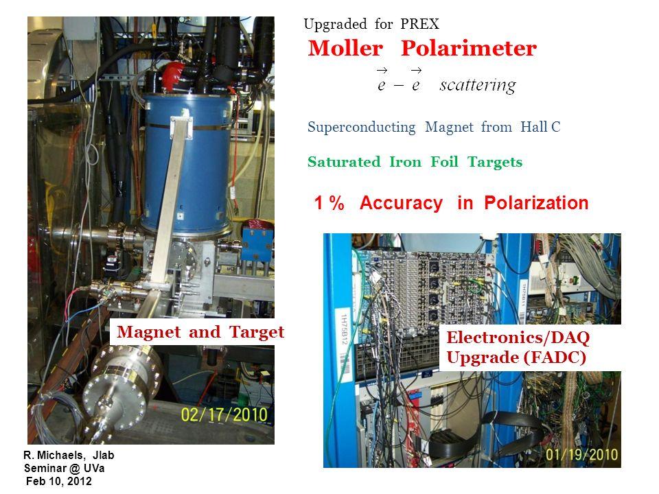 R. Michaels, Jlab Seminar @ UVa Feb 10, 2012 Moller Polarimeter Superconducting Magnet from Hall C Saturated Iron Foil Targets 1 % Accuracy in Polariz