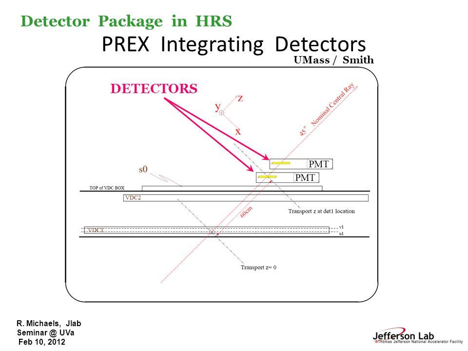 R. Michaels, Jlab Seminar @ UVa Feb 10, 2012 PREX Integrating Detectors DETECTORS UMass / Smith Detector Package in HRS