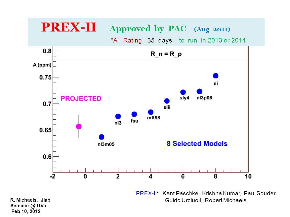 R. Michaels, Jlab Seminar @ UVa Feb 10, 2012 PREX-II Approved by PAC (Aug 2011) A Rating 35 days to run in 2013 or 2014 PREX-II: Kent Paschke, Krishna