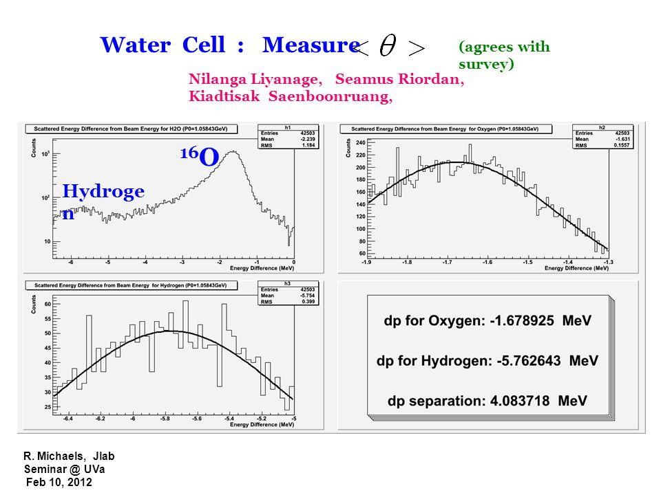 R. Michaels, Jlab Seminar @ UVa Feb 10, 2012 16 O Hydroge n Water Cell : Measure Nilanga Liyanage, Seamus Riordan, Kiadtisak Saenboonruang, (agrees wi