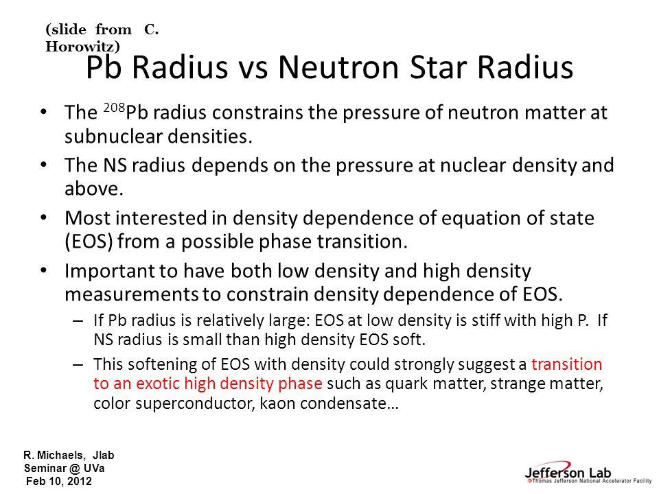 R. Michaels, Jlab Seminar @ UVa Feb 10, 2012 Pb Radius vs Neutron Star Radius The 208 Pb radius constrains the pressure of neutron matter at subnuclea