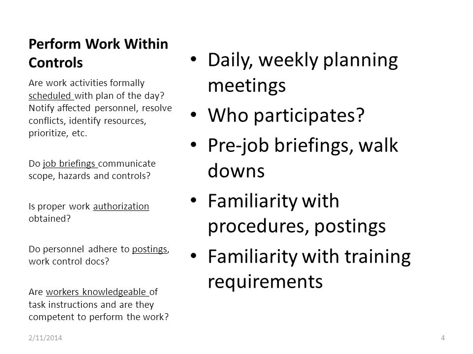 Perform Work Within Controls Daily, weekly planning meetings Who participates.