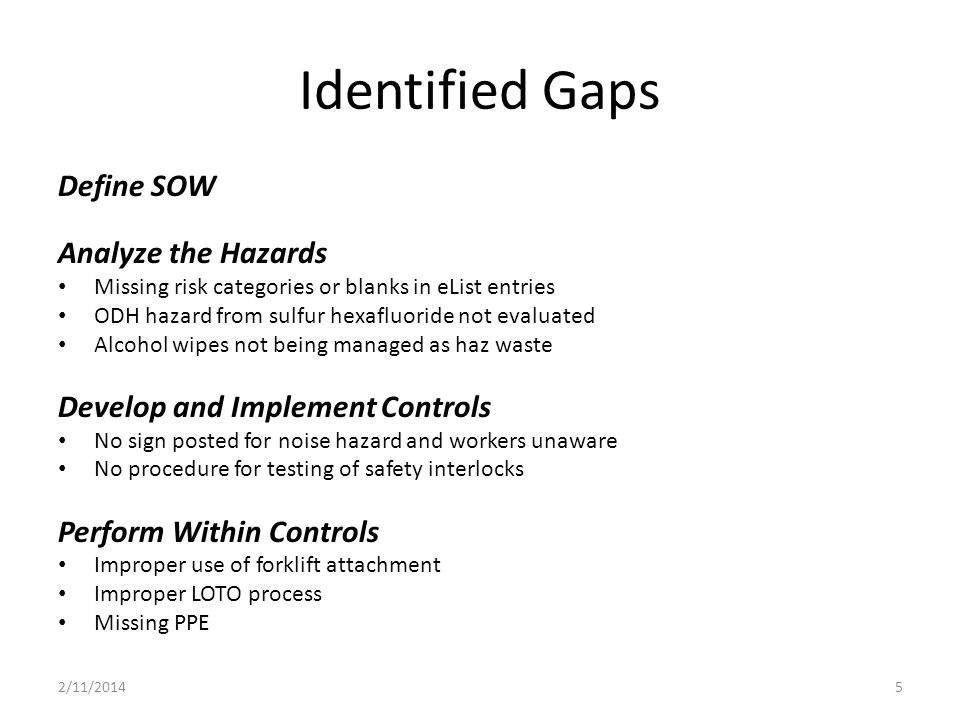 Identified Gaps Define SOW Analyze the Hazards Missing risk categories or blanks in eList entries ODH hazard from sulfur hexafluoride not evaluated Alcohol wipes not being managed as haz waste Develop and Implement Controls No sign posted for noise hazard and workers unaware No procedure for testing of safety interlocks Perform Within Controls Improper use of forklift attachment Improper LOTO process Missing PPE 2/11/20145