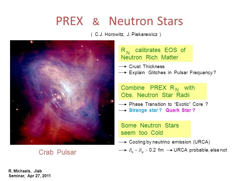 R. Michaels, Jlab Seminar, Apr 27, 2011 PREX & Neutron Stars Crab Pulsar ( C.J. Horowitz, J. Piekarewicz ) R calibrates EOS of Neutron Rich Matter Com