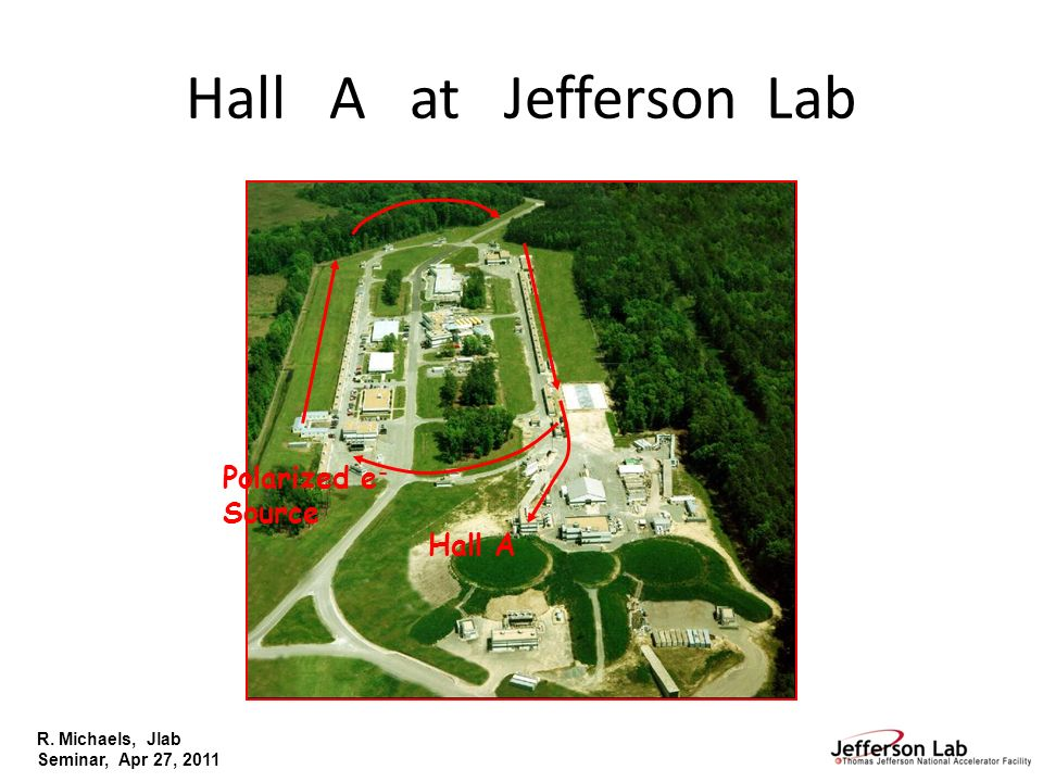 R. Michaels, Jlab Seminar, Apr 27, 2011 Hall A at Jefferson Lab Polarized e - Source Hall A