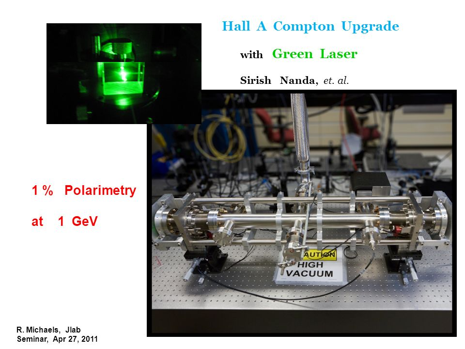 R. Michaels, Jlab Seminar, Apr 27, 2011 Hall A Compton Upgrade with Green Laser Sirish Nanda, et. al. 1 % Polarimetry at 1 GeV