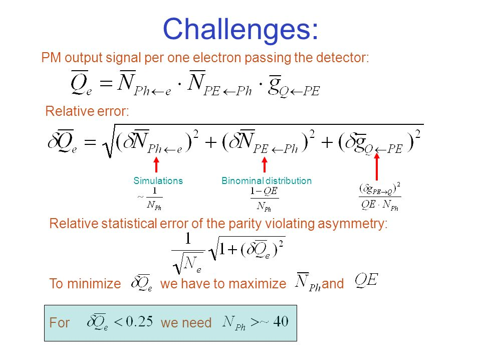 Challenges: PM output signal per one electron passing the detector: Relative error: SimulationsBinominal distribution Relative statistical error of the parity violating asymmetry: To minimize we have to maximize and For we need