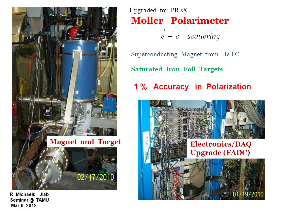 R. Michaels, Jlab Seminar @ TAMU Mar 6, 2012 Moller Polarimeter Superconducting Magnet from Hall C Saturated Iron Foil Targets 1 % Accuracy in Polariz