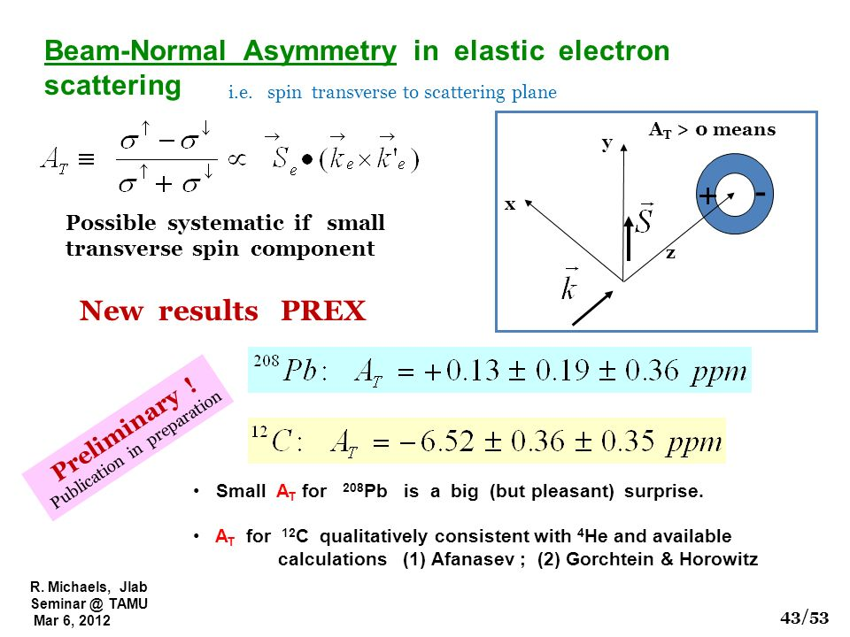 R. Michaels, Jlab Seminar @ TAMU Mar 6, 2012 y z x + - A T > 0 means Beam-Normal Asymmetry in elastic electron scattering i.e. spin transverse to scat