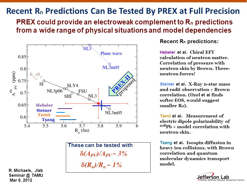 R. Michaels, Jlab Seminar @ TAMU Mar 6, 2012 PREX could provide an electroweak complement to R n predictions from a wide range of physical situations