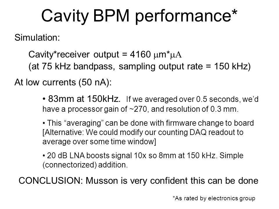Cavity BPM performance* *As rated by electronics group Simulation: Cavity*receiver output = 4160 m* (at 75 kHz bandpass, sampling output rate = 150 kHz) At low currents (50 nA): 83mm at 150kHz.