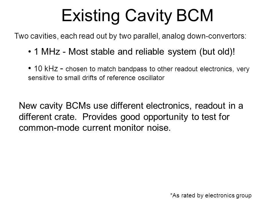 Existing Cavity BCM *As rated by electronics group Two cavities, each read out by two parallel, analog down-convertors: 1 MHz - Most stable and reliable system (but old).