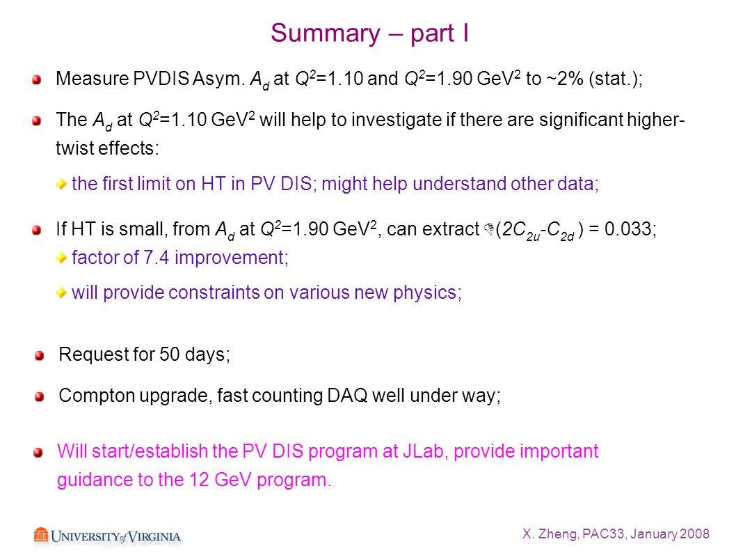 X. Zheng, PAC33, January 2008 Summary – part I Measure PVDIS Asym. A d at Q 2 =1.10 and Q 2 =1.90 GeV 2 to ~2% (stat.); The A d at Q 2 =1.10 GeV 2 wil