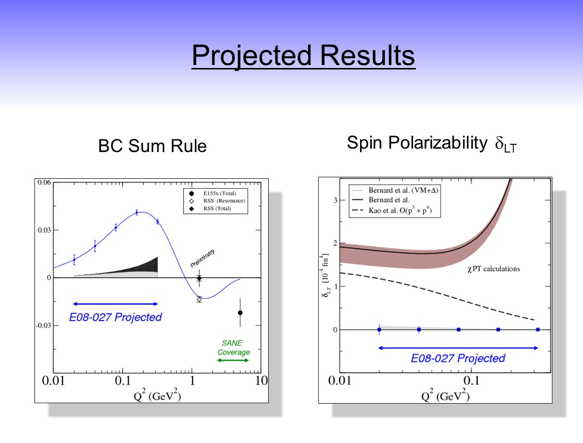 BC Sum Rule Spin Polarizability LT Projected Results