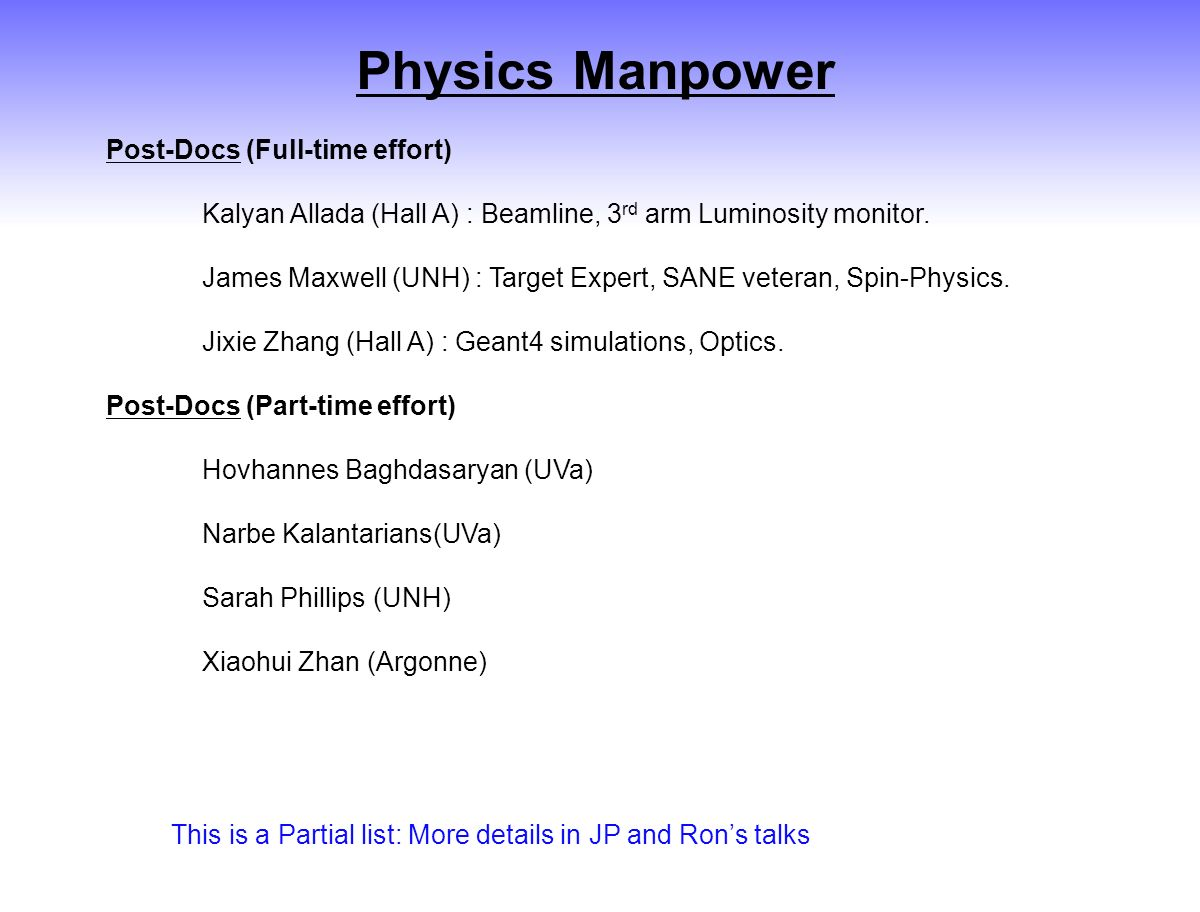 Physics Manpower Post-Docs (Full-time effort) Kalyan Allada (Hall A) : Beamline, 3 rd arm Luminosity monitor.