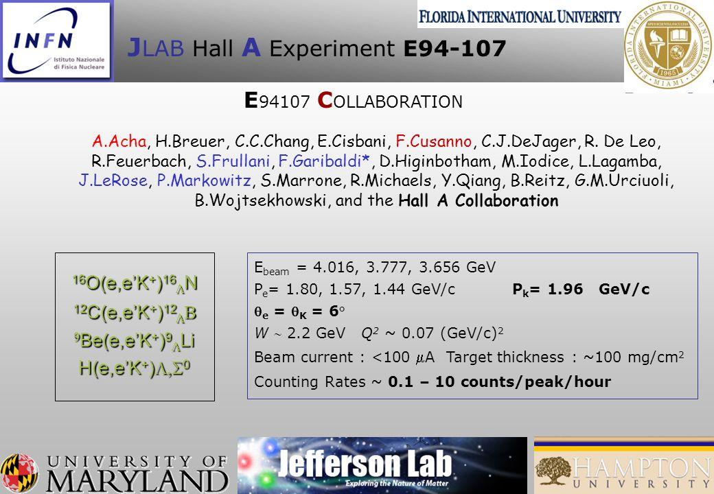 J LAB Hall A Experiment E94-107 16 O(e,eK + ) 16 N 12 C(e,eK + ) 12 12 C(e,eK + ) 12 Be(e,eK + ) 9 Li Be(e,eK + ) 9 Li H(e,eK + ) 0 E beam = 4.016, 3.777, 3.656 GeV P e = 1.80, 1.57, 1.44 GeV/c P k = 1.96 GeV/c e = K = 6° W 2.2 GeV Q 2 ~ 0.07 (GeV/c) 2 Beam current : <100 A Target thickness : ~100 mg/cm 2 Counting Rates ~ 0.1 – 10 counts/peak/hour A.Acha, H.Breuer, C.C.Chang, E.Cisbani, F.Cusanno, C.J.DeJager, R.