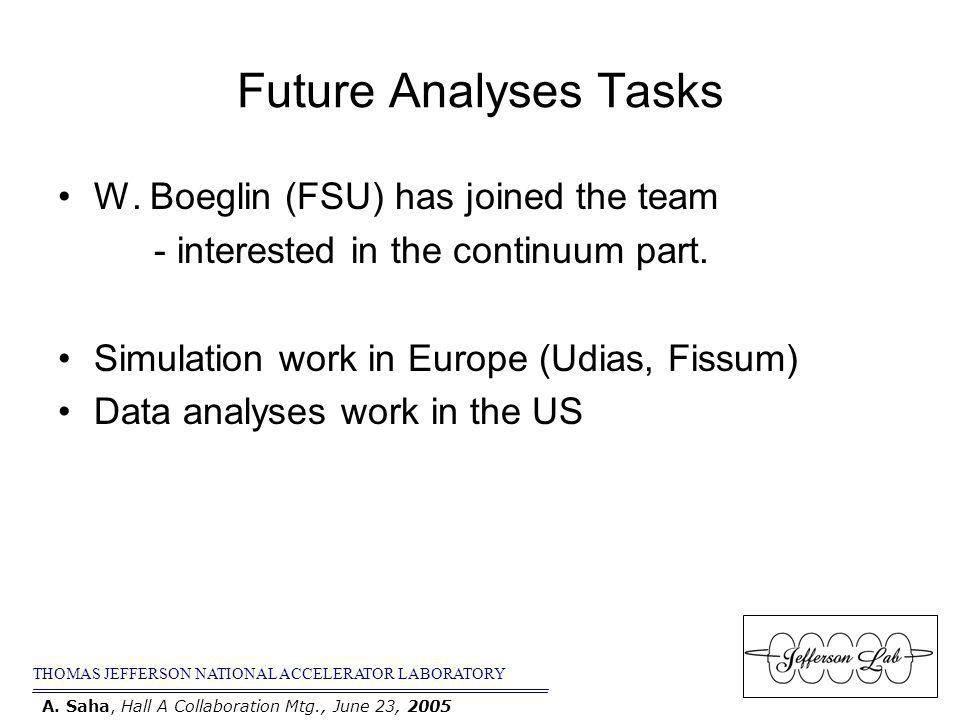 Future Analyses Tasks W. Boeglin (FSU) has joined the team - interested in the continuum part.