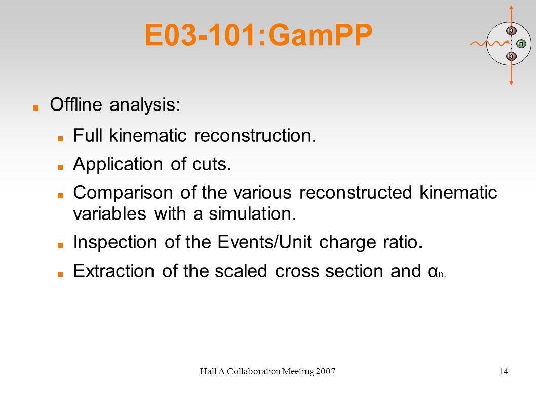 Hall A Collaboration Meeting 200714 E03-101:GamPP Offline analysis: Full kinematic reconstruction. Application of cuts. Comparison of the various reco
