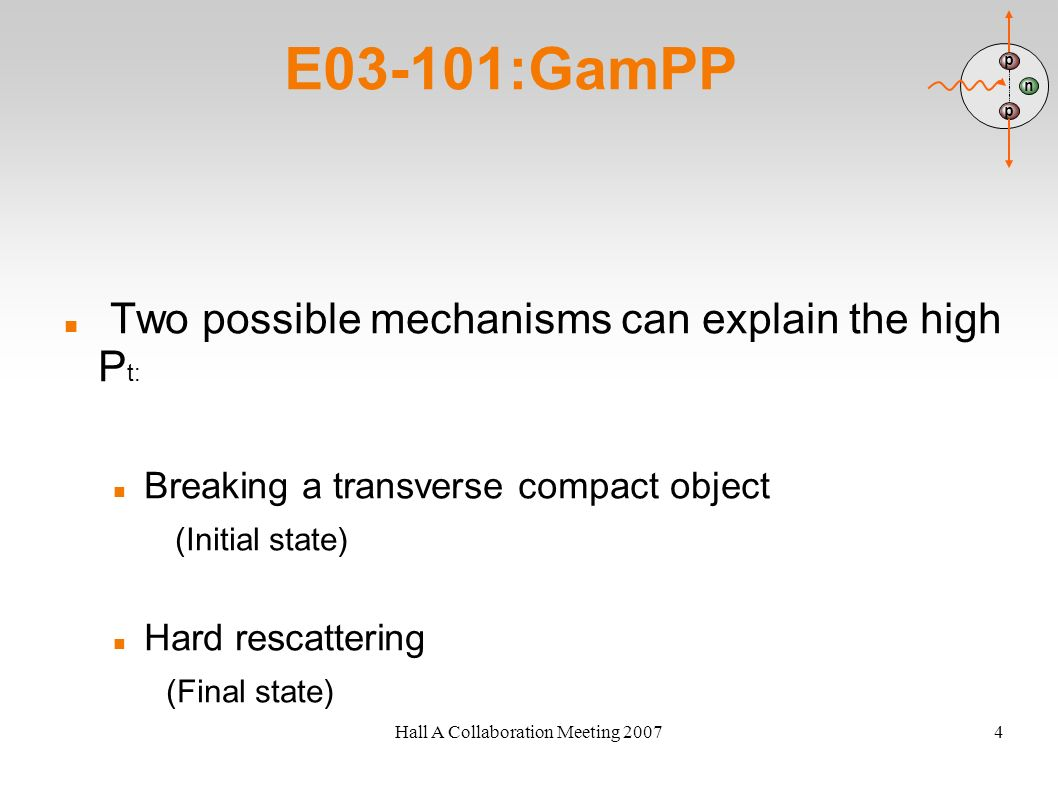 Hall A Collaboration Meeting 20074 E03-101:GamPP Two possible mechanisms can explain the high P t: Breaking a transverse compact object (Initial state