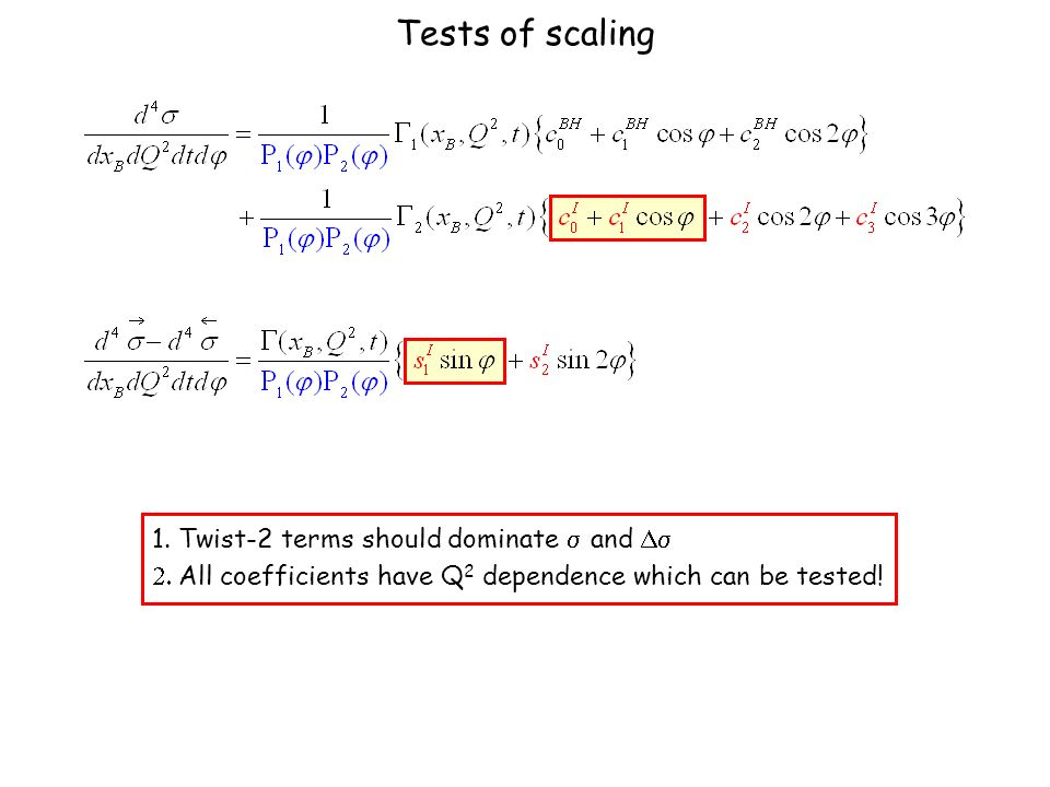 Tests of scaling 1.