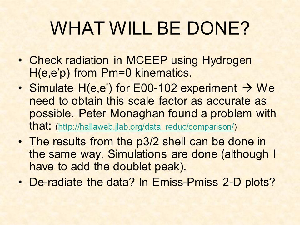 WHAT WILL BE DONE. Check radiation in MCEEP using Hydrogen H(e,ep) from Pm=0 kinematics.