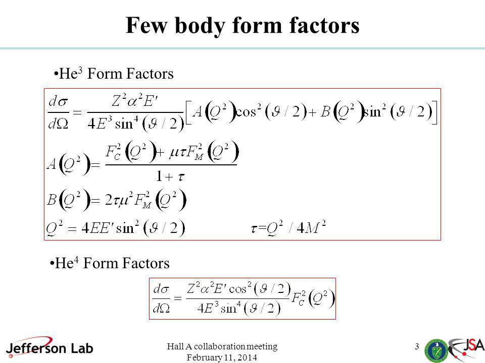 Hall A collaboration meeting February 11, 2014 3 Few body form factors He 3 Form Factors He 4 Form Factors