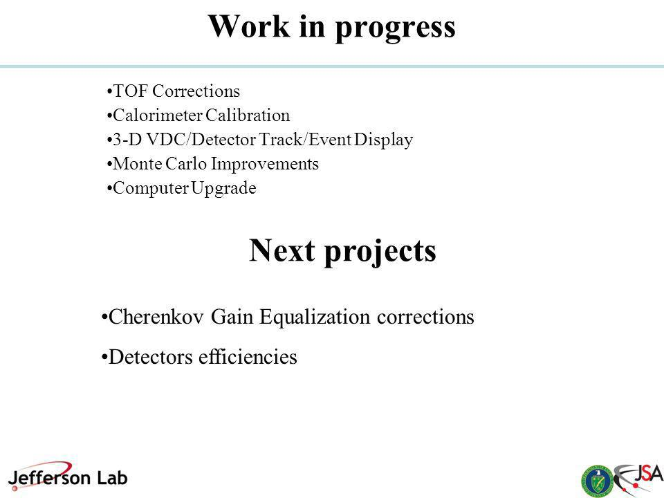 Work in progress Next projects TOF Corrections Calorimeter Calibration 3-D VDC/Detector Track/Event Display Monte Carlo Improvements Computer Upgrade