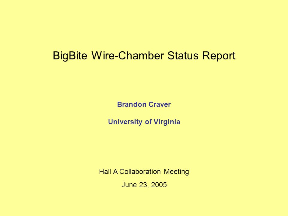 BigBite Wire-Chamber Status Report Brandon Craver University of Virginia Hall A Collaboration Meeting June 23, 2005