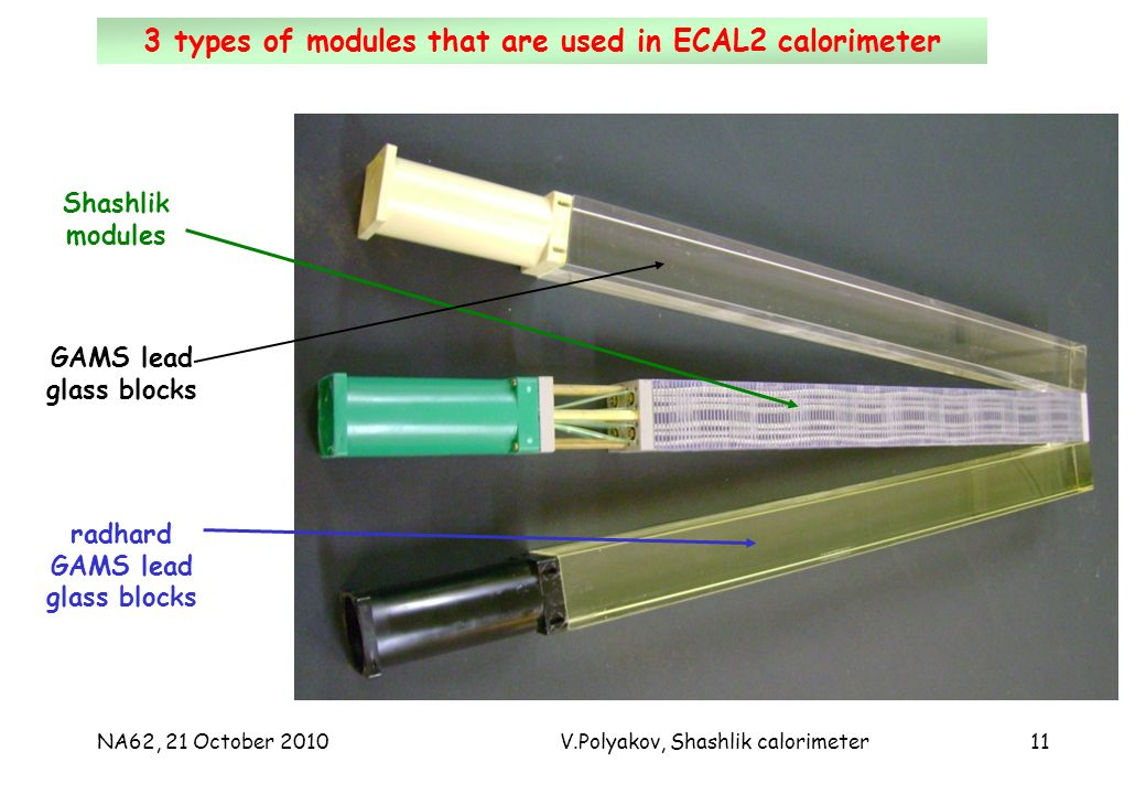 NA62, 21 October 2010V.Polyakov, Shashlik calorimeter11 ECAL2, Run blocks remove780 radiation hard blocks install3 types of modules that are used in ECAL2 calorimeter Shashlik modules radhard GAMS lead glass blocks GAMS lead glass blocks