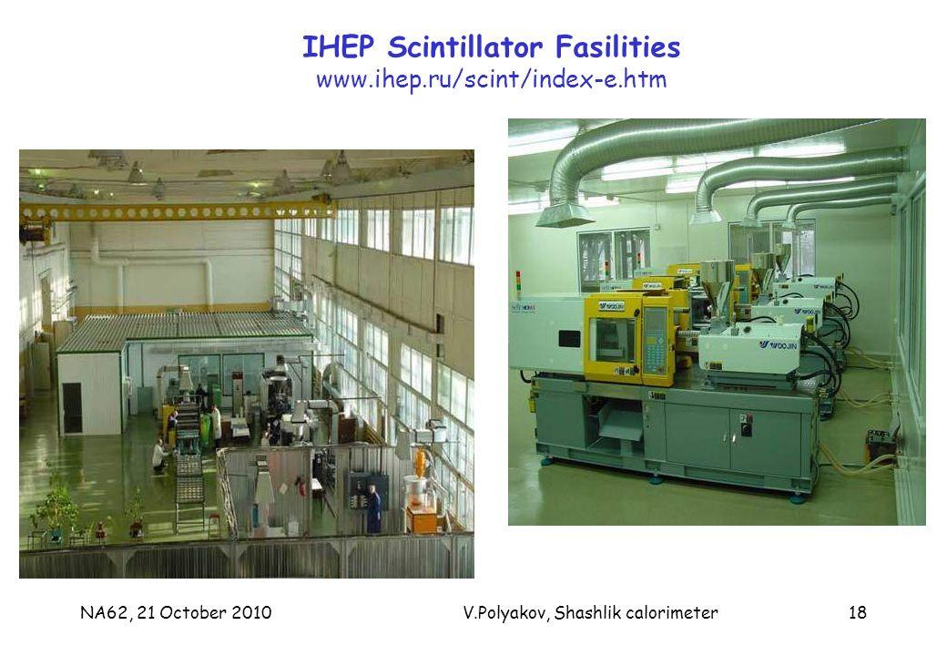 NA62, 21 October 2010V.Polyakov, Shashlik calorimeter18 IHEP Scintillator Fasilities www.ihep.ru/scint/index-e.htm