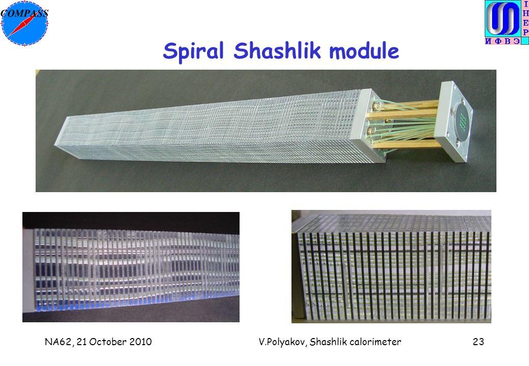NA62, 21 October 2010V.Polyakov, Shashlik calorimeter23 Spiral Shashlik module