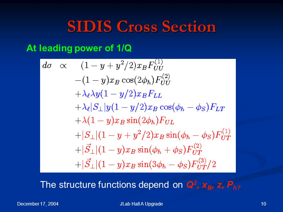 December 17, JLab Hall A Upgrade SIDIS Cross Section At leading power of 1/Q The structure functions depend on Q 2, x B, z, P h