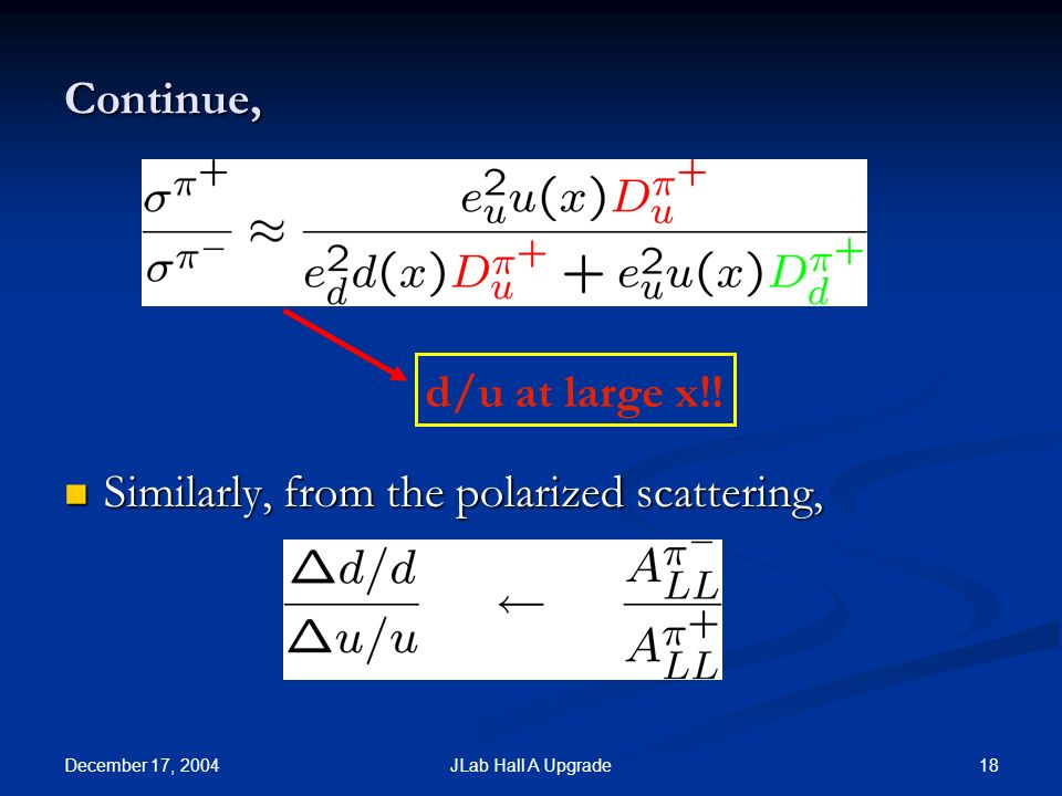 December 17, 2004 18JLab Hall A Upgrade Continue, Similarly, from the polarized scattering, Similarly, from the polarized scattering, d/u at large x!!