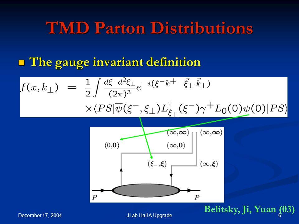 December 17, 2004 7JLab Hall A Upgrade Polarized TMD Quark Distributions Quark Nucleon Unpol.