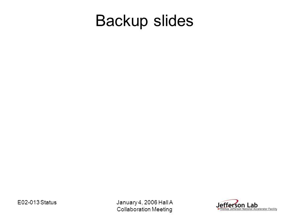 E02-013 StatusJanuary 4, 2006 Hall A Collaboration Meeting Backup slides