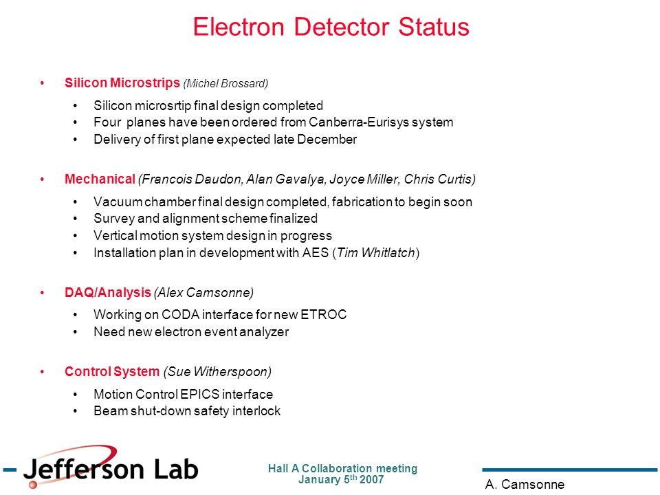 Hall A Collaboration meeting January 5 th 2007 A. Camsonne Electron Detector Status Silicon Microstrips (Michel Brossard) Silicon microsrtip final des